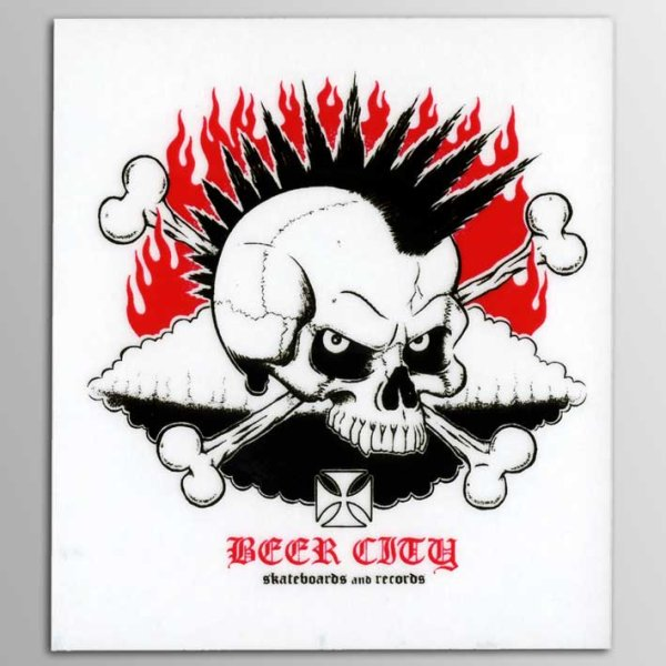 画像1: Beer City Skateboards / Beer City Skull ステッカー [White] (1)