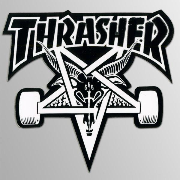 画像1: Thrasher Magazine / Skate Goat Skateboard BK/WH Medium ステッカー (1)