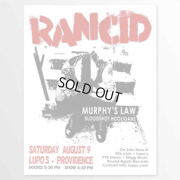 画像1: Rancid /  Lupos 2008 ポスター [w/ Murphy's Law, Bloodshot Hooligans] (1)